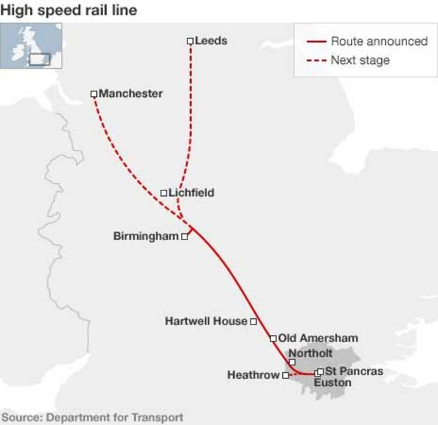 London-to-Birmingham high speed train route announced - BBC News
