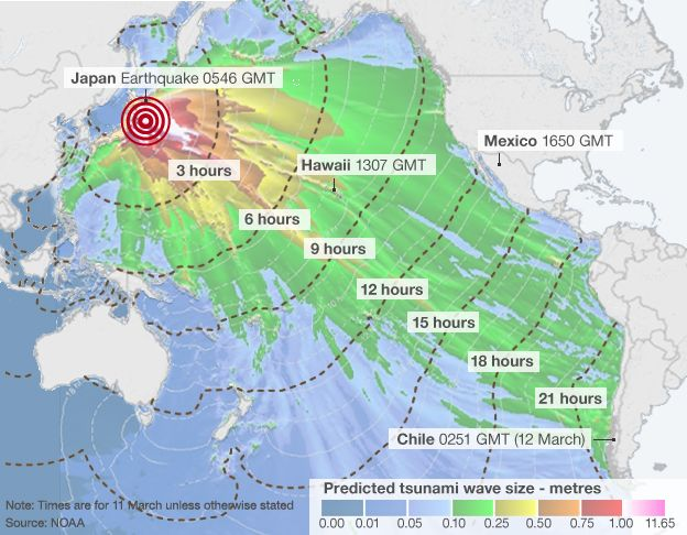 Japan Earthquake Wave Forecast Map BBC News - Japan uk map