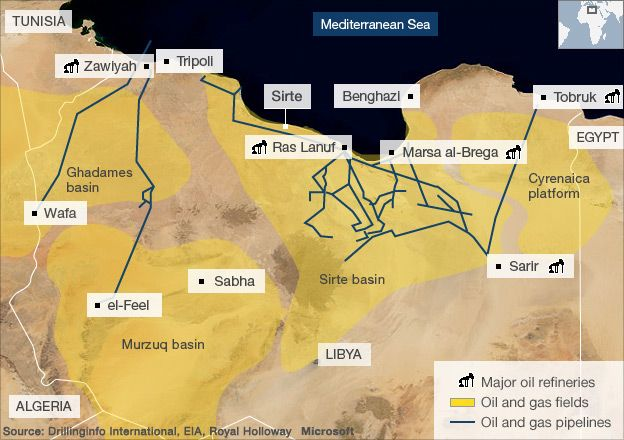 Map of Libyan oil installations