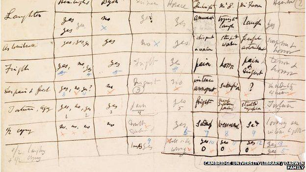 Darwin's hand-written test results