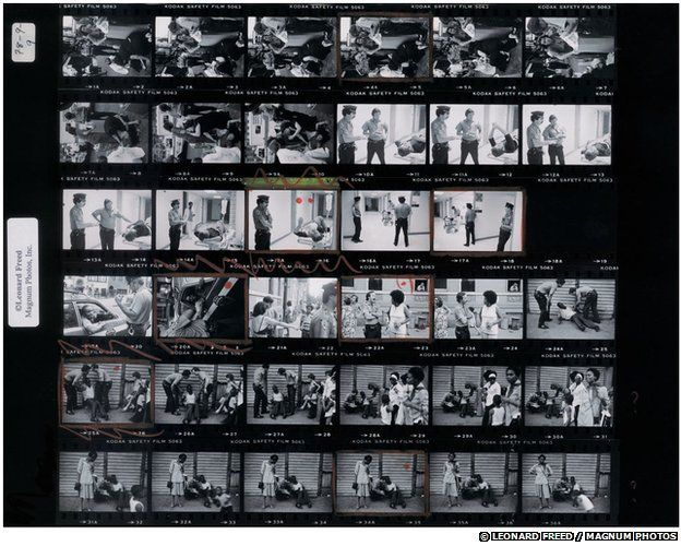 Leonard Freed's contact sheet from his police work series