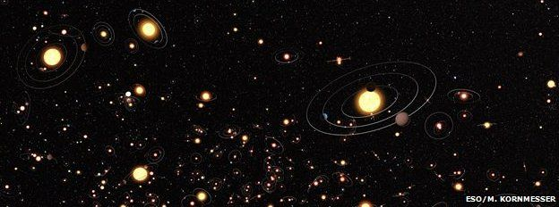 Artists's cartoon view gives an impression of how common planets are around the stars in the Milky Way