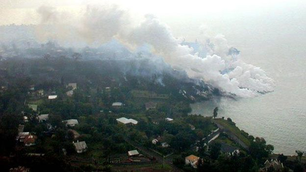 Lava hitting Lake Kivu in January 2002 from the erupting Nyiragongo volcano