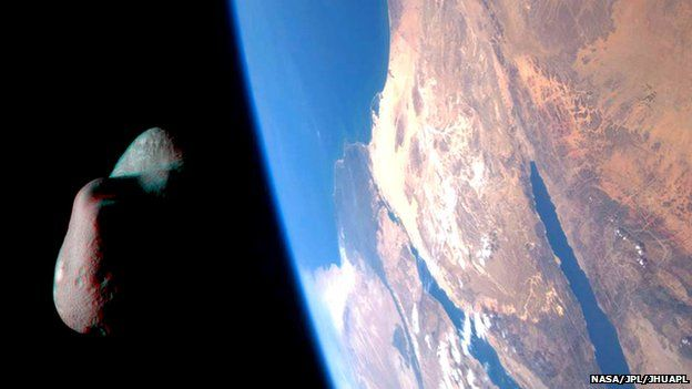 Artist's impression of an asteroid approaching Earth