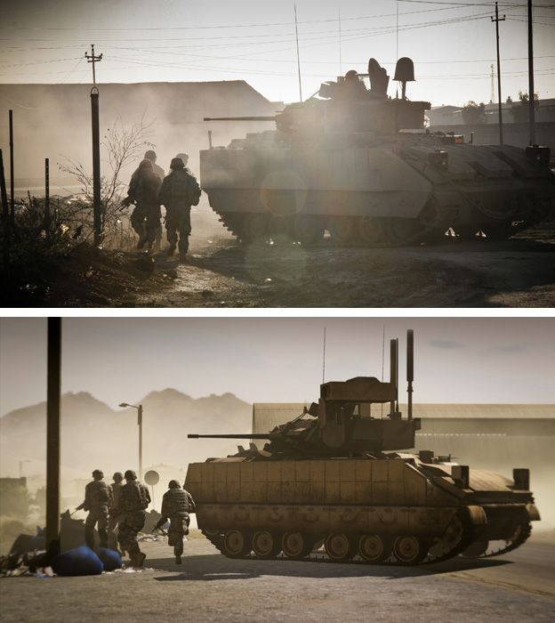 US soldiers of 1ID during IED clearing operation supported by armour in Ramadi, Anbar province, Iraq by John Cantlie (top) Still from the game Arma 2 (bottom)
