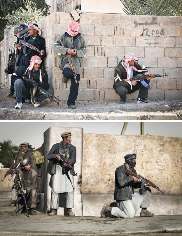 Iraqi militia wait for orders to advance through a city block during operation in Ta'meem district of Ramadi, Iraq by John Cantlie (top) Still from the game Arma 2 (bottom)