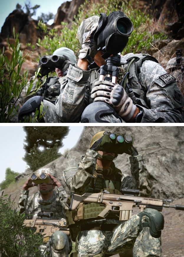 Snipers from 2/12 Infantry Division look for insurgent movement in the Pech valley, Kunar province, Afghan by John Cantlie (top) Still from the game Arma 2 (bottom)