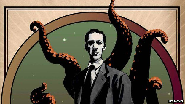 Illustration of HP Lovecraft and his monster - by Lee Moyer