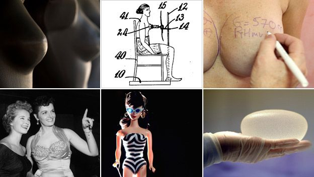 Composite of images about the history of breast implants and those who inspired women to want bigger bosoms - including patent drawing for bust-developing device 1929, US patent number 1795073, inventor Peggy Bbowh