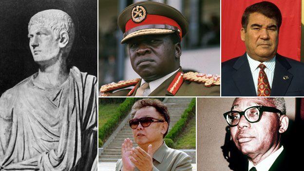 Clockwise from left: Caligula (Getty), Idi Amin (AP), Saparmurat Niyazov (BBC), Francois Duvalier (AP) andKim Jong-il (AP)