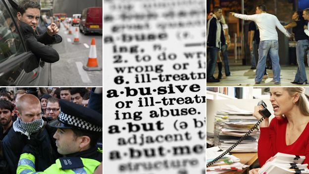 """From top left, clockwise: Angry man in car, dictionary entry for """"abusive"""", Man being abusive, woman shouting at phone, student confronted by policeman"""