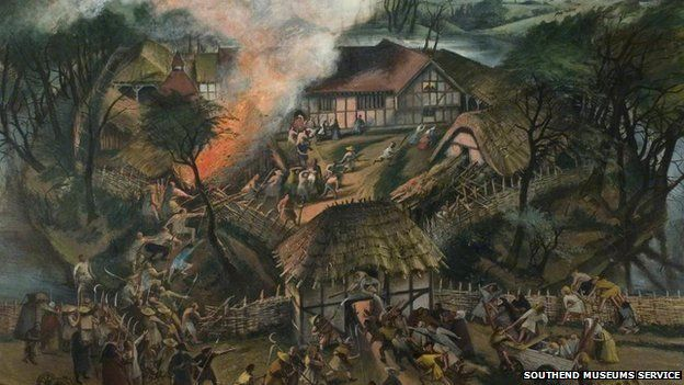 An artist's impression of an attack on Southchurch Hall during the Peasants' Revolt, 1381