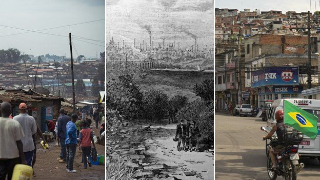 Nairobi suburbs, Preston in the 19th Century, and Rio's favelas