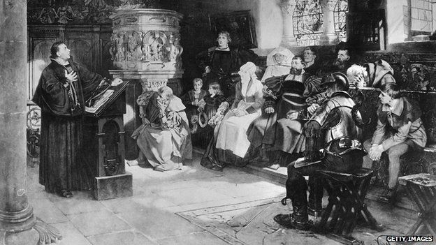 Circa 1521, Martin Luther preaching to a small congregation