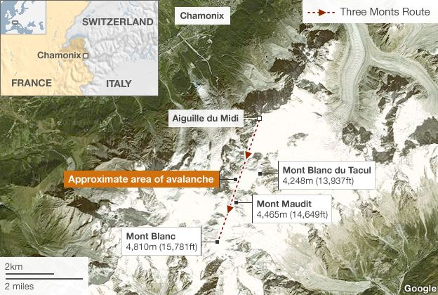 Map of avalanche area
