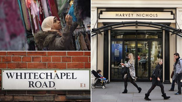 Woman shopping at Whitechapel market, Tower Hamlets and pedestrians outside Harvey Nichols department store, Chelsea