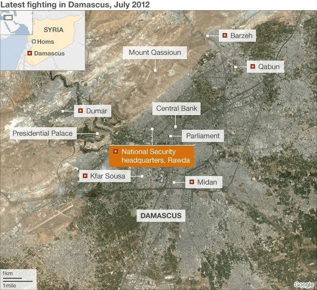 Map showing Damascus violence (17 July 2012)