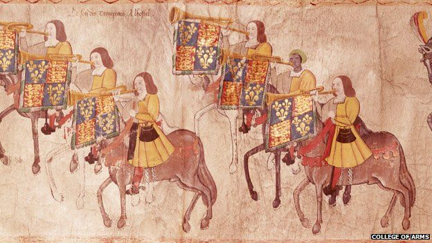The Westminster Tournament Roll from the 16th Century showing the black trumpeter, John Blanke