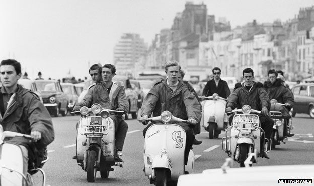 Mods on scooters in Hastings, 1964