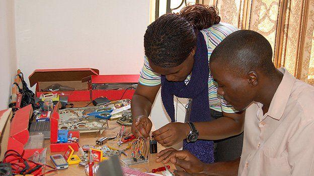 Students work on a robotics project