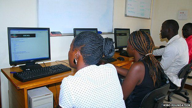 Students using the RACHEL repository