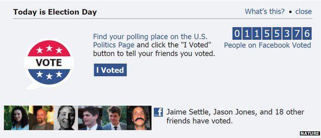 Facebook voting message screenshot