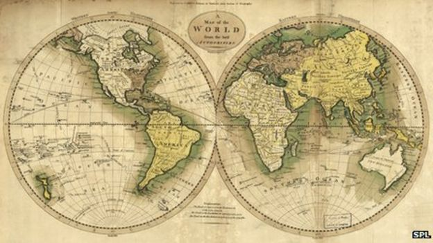 Why modern maps put everyone at the centre of the world bbc news map with east and west hemispheres in globe shapes gumiabroncs Image collections