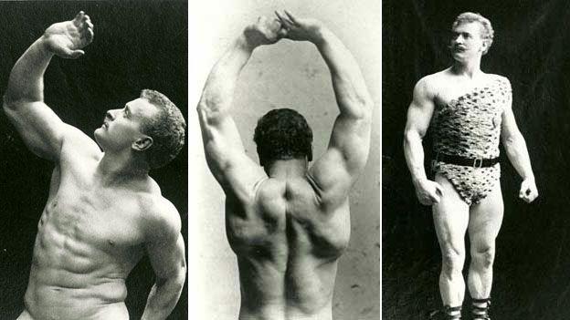 Eugen Sandow in three different poses
