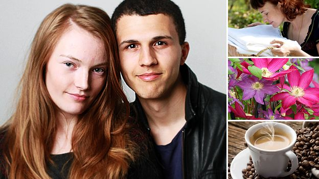 Sarah Page with her boyfriend Andy, images of flowers, coffee and washing