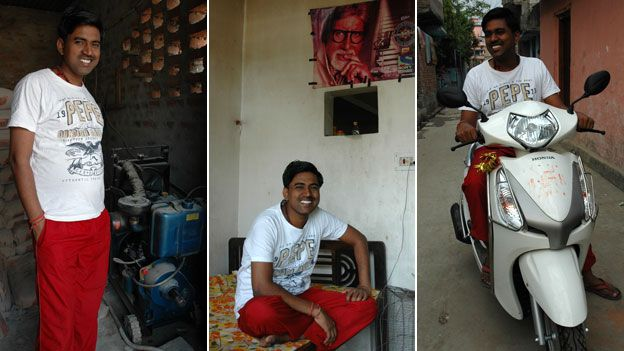 Sushil Kumar with generator, poster of Amitabh Bachchan, and his new scooter