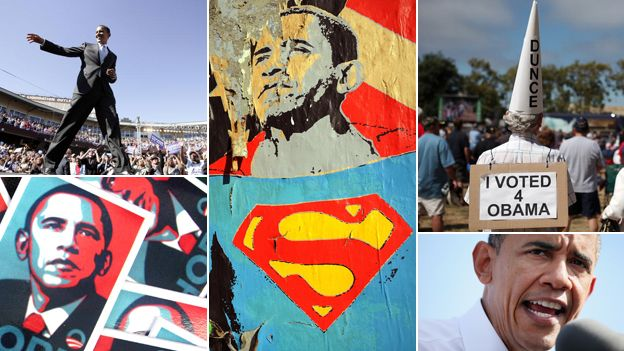 Photos of Obama dating from his 2008 campaign to the more terse nature of the 2012 campaign