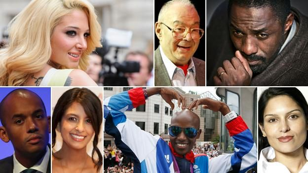 "Clockwise, from left: Tulisa Contostavlos, Lionel Blue, Idris Elba, Priti Patel, Mo Farah, Kanak ""Konnie"" Huq and Chuka Umunna"