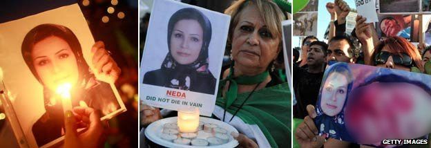 Campaigners using Neda Soltani's photo (Getty) NB the image of Neda Agha-Soltan on the protester's placard has been blurred