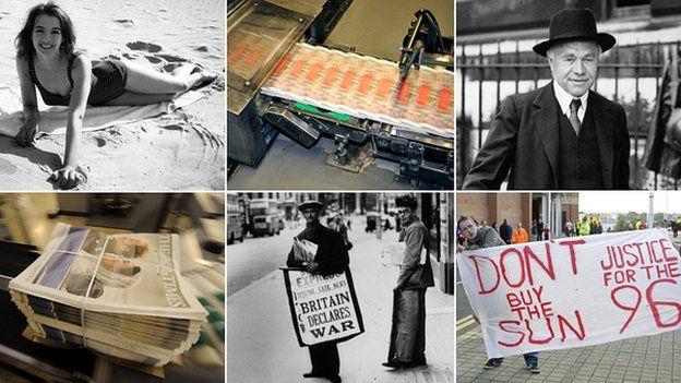 Press images (top: Christine Keeler, printing presses, Lord Beaverbrook, bottom: Times bundle, Newspaper vendor, Sun boycott banner)