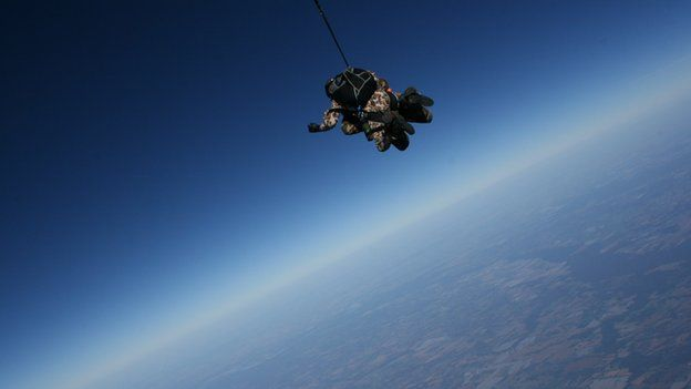 Ray Woodcock skydiving with a view of the Earth