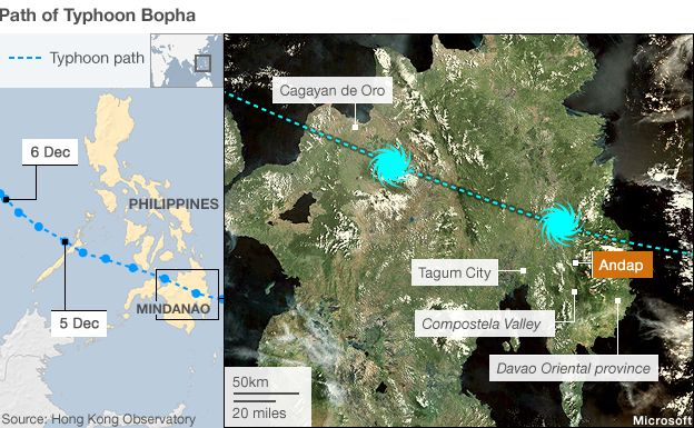 Map showing path of typhoon Bopha