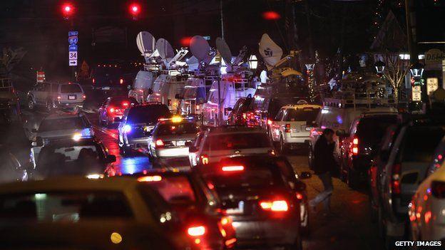 News trucks line up in Newtown, Connecticut