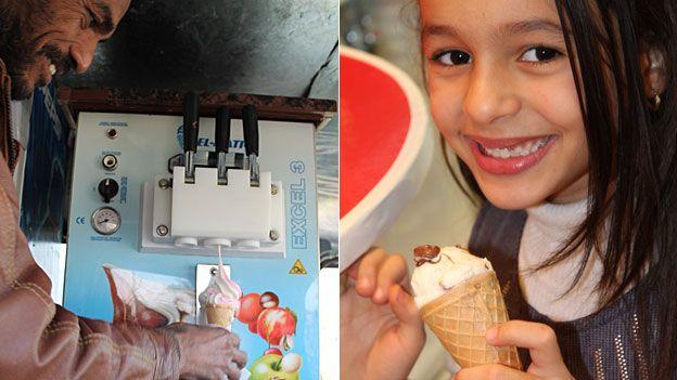 L: An ice cream seller in Tripoli, Libya. R: A girl eating ice cream in Tripoli