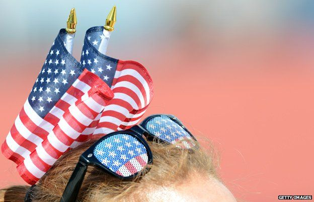 Fan in stars and stripes sunglasses at the London Olympics
