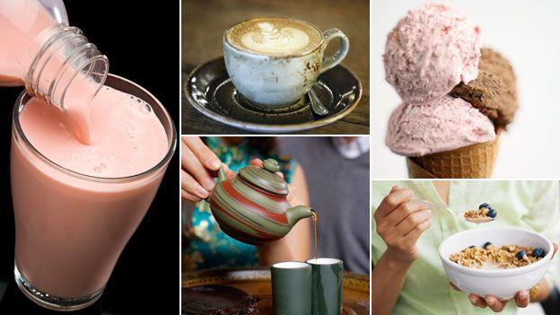Clockwise from left, smoothie, coffee, ice cream, granola, tea