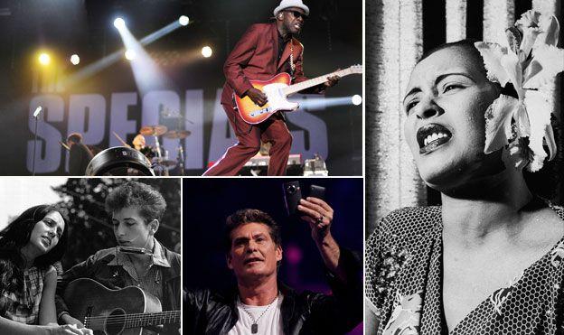 Clockwise from top left: The Specials' Free Nelson Mandela; Billie Holliday's Strange Fruit; David Hasselhoff; Joan Baez and Bob Dylan