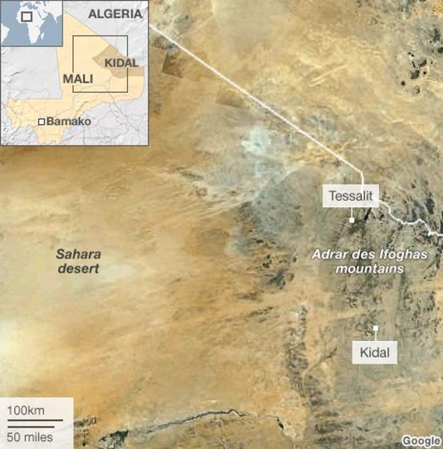Satellite Image Showing The Location Of Tessalit And The Adrar Des Ifoghas Mountains