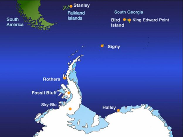 Halley Antarctic Research Station Up And Running BBC News - Antarctic research stations map