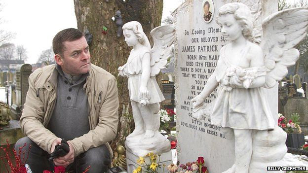Ralph Bulger at the graveside of his son, James