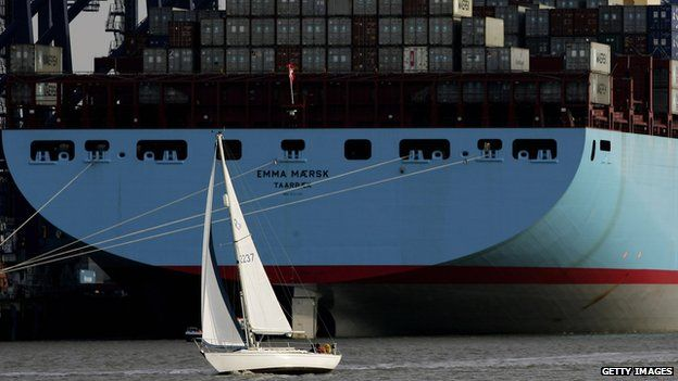A small yacht in front of Emma Maersk at Felixstowe, 2006