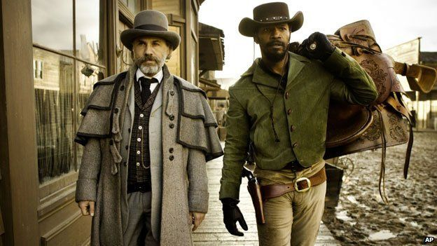 Jamie Foxx, with Christoph Waltz, in a scene from Django Unchained