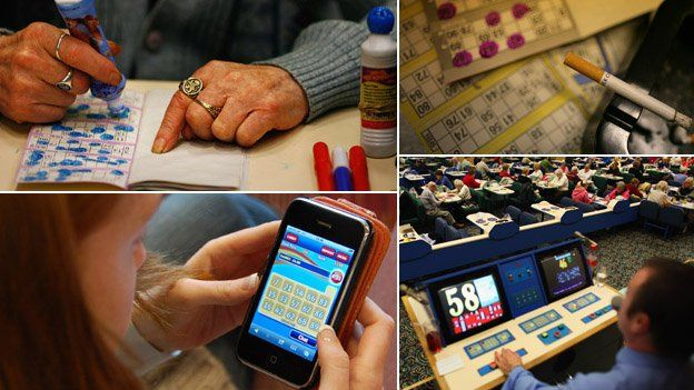 Composite image showing, clockwise from top left: a woman marking a bingo card, a cigarette in an ashtray on some bingo cards, a bingo caller and a woman playing bingo on her mobile phone