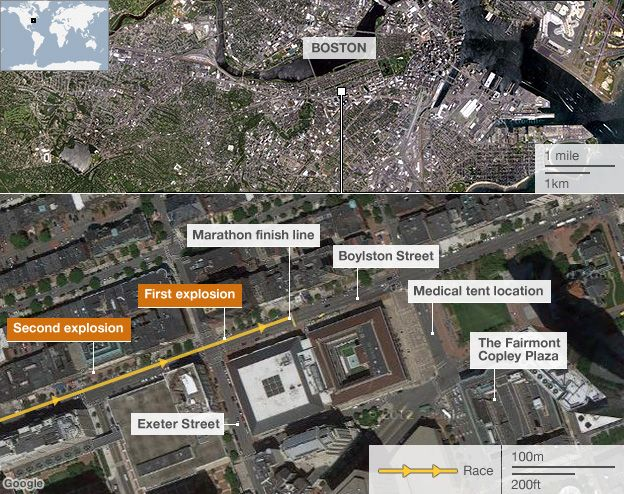 Boston blast map showing wider location