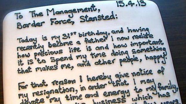 Mr Cake's resignation 'letter'