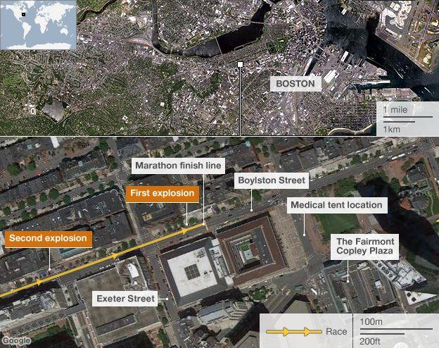 Boston map showing bomb locations